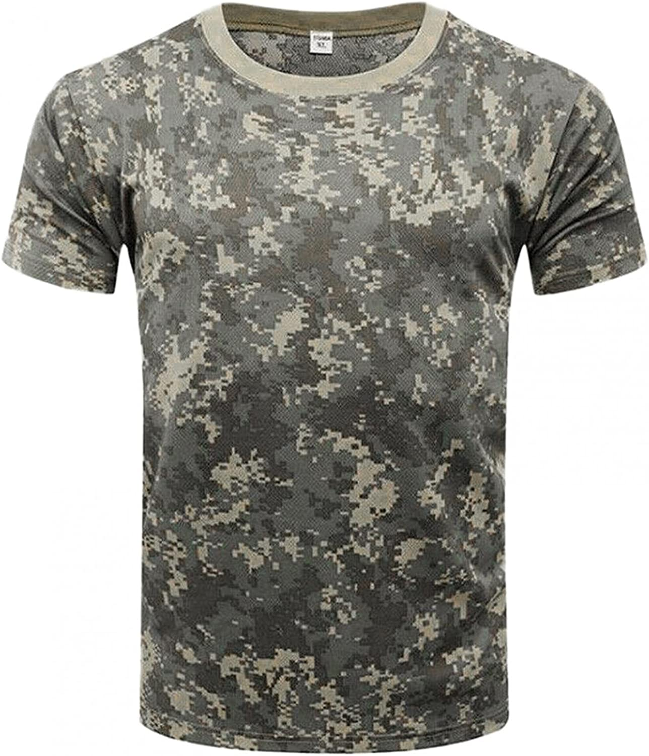Huangse Men's Short Sleeve Tactical T-Shirt Camouflage Print Slim Fit Shirts Summer Casual Military Camo Tee Tops