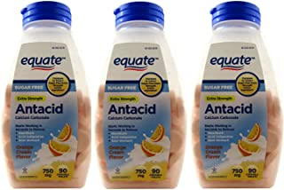 Sugar Free Antacid Orange Cream Flavor 270 Chewable Tablets Equate (3 Bottles of 90 Each)