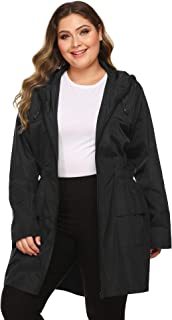 IN'VOLAND Plus Size Raincoats Long Rain Jacket Lightweight Hooded Waterproof Outdoor Windbreaker