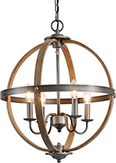 KSANA Farmhouse Chandelier, Metal 4 Light Fixture for Bedroom, Kitchen, Foyer, Dining & Living Room and Entryway(Faux Wood & Silver Brushed Finish)