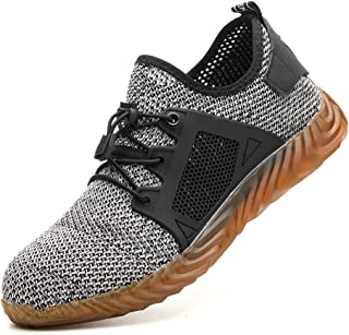 Men Steel Toe Work Shoes, Lightweight Fashion Sports Safety Shoes Steel Toe Womens Shoes Indestructible Shoes
