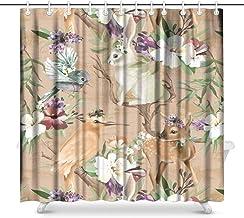 Cute Baby Animal Llama Alpaca with Flowers Floral House Decor Shower Curtain for Bathroom, Decorative Bathroom Shower Curt...