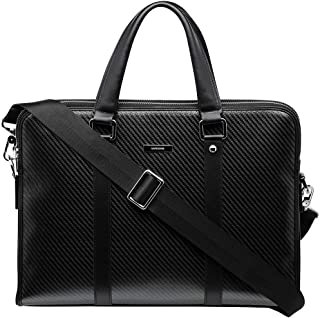 Safedome Genuine Carbon Fiber Men's Briefcase with Shoulder Strap, Slim Lightweight and Durable Laptop Briefcase for Work or Travel - Black Briefcase