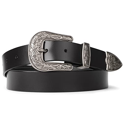ad48ecb22 SUOSDEY Genuine Leather Belts for Women with Vintage Metal Buckle 1 Inch  Wide