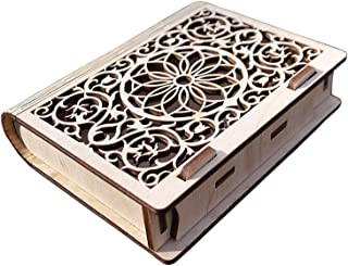Wooden Jewelry Box Decorative Cassette Carved Bookcase Secret Trick Book Box Handmade Wooden Secret Book Puzzle Bohemian. Great Gift for Book Lovers