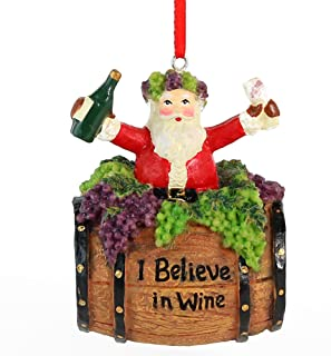 Ornativity Santa Wine Barrel Ornament - Santa On Wine Barrel Christmas Holiday Tree Decoration