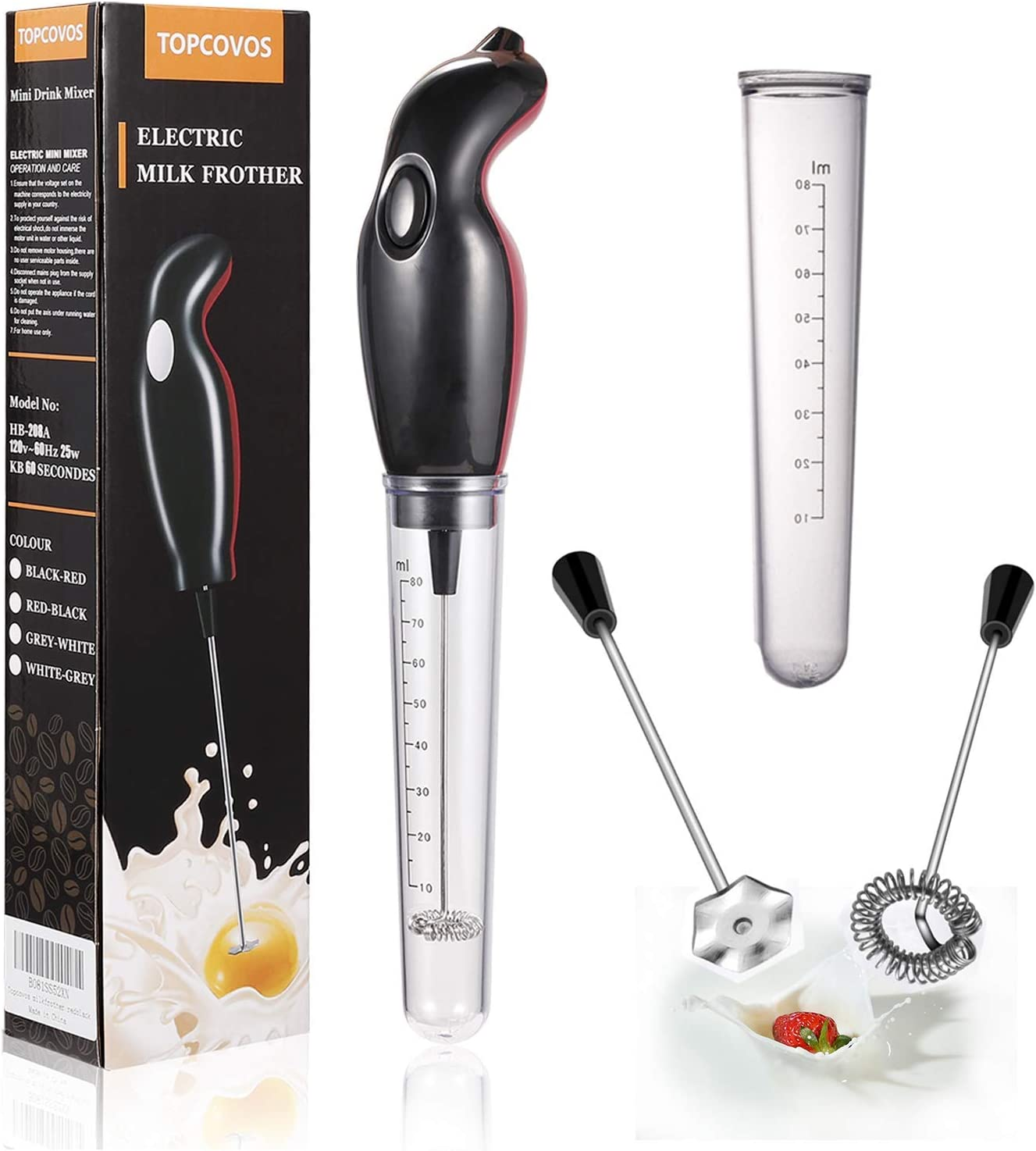 Milk Frother Handheld Electric Foam Maker with Dust Proof Turbo For Coffee, Latte, Cappuccino, Hot Chocolate, Durable Drink Mixer With 2 Stainless Steel Whisk, 1 Measuring Tube(Clever Cover)