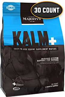 Majesty's Kalm+ Wafers - Horse/Equine Balanced Behavior & Nervous System Function Supplement - Tryptophan, Vitamin B1, Winter Cherry, Inositol - Calming, Eases Anxiety, Stress, Fear & Anger