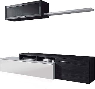 Habitdesign - Mueble de salón Comedor Moderno Medidas: 200x41/34x43 cm de Alto (Gris Ceniza)