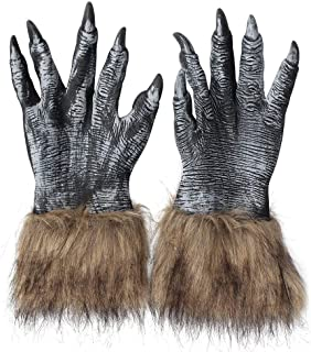 Halloween Wolf Gloves Werewolf Costume Paw Claw Hairy Hands Creepy Mittens Animal Cosplay Warm Spooky Birthday Party Decoration