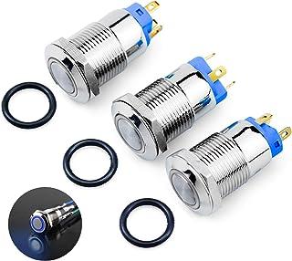 WEKON 3 Stück 4 Pin Wasserdicht Druckschalter Kippschalter 12/24 V LED IP66 Drucktaster Druckknopf EIN/AUS Schalter für Auto RV LKW Boot