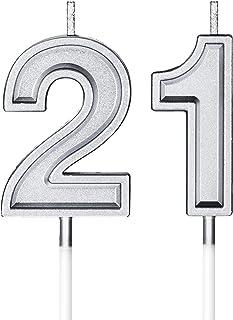 شموع رقمية لكعكة عيد الميلاد رقم 21 شموع زينة لتزيين أعياد الميلاد وحفلات الزفاف والذكرى السنوية (فضية)