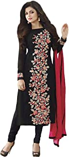 Pop Mantra Women's georgette Straight Salwar Suit Set (EBSFSK429015-O_ Black_ Xxx-Large)