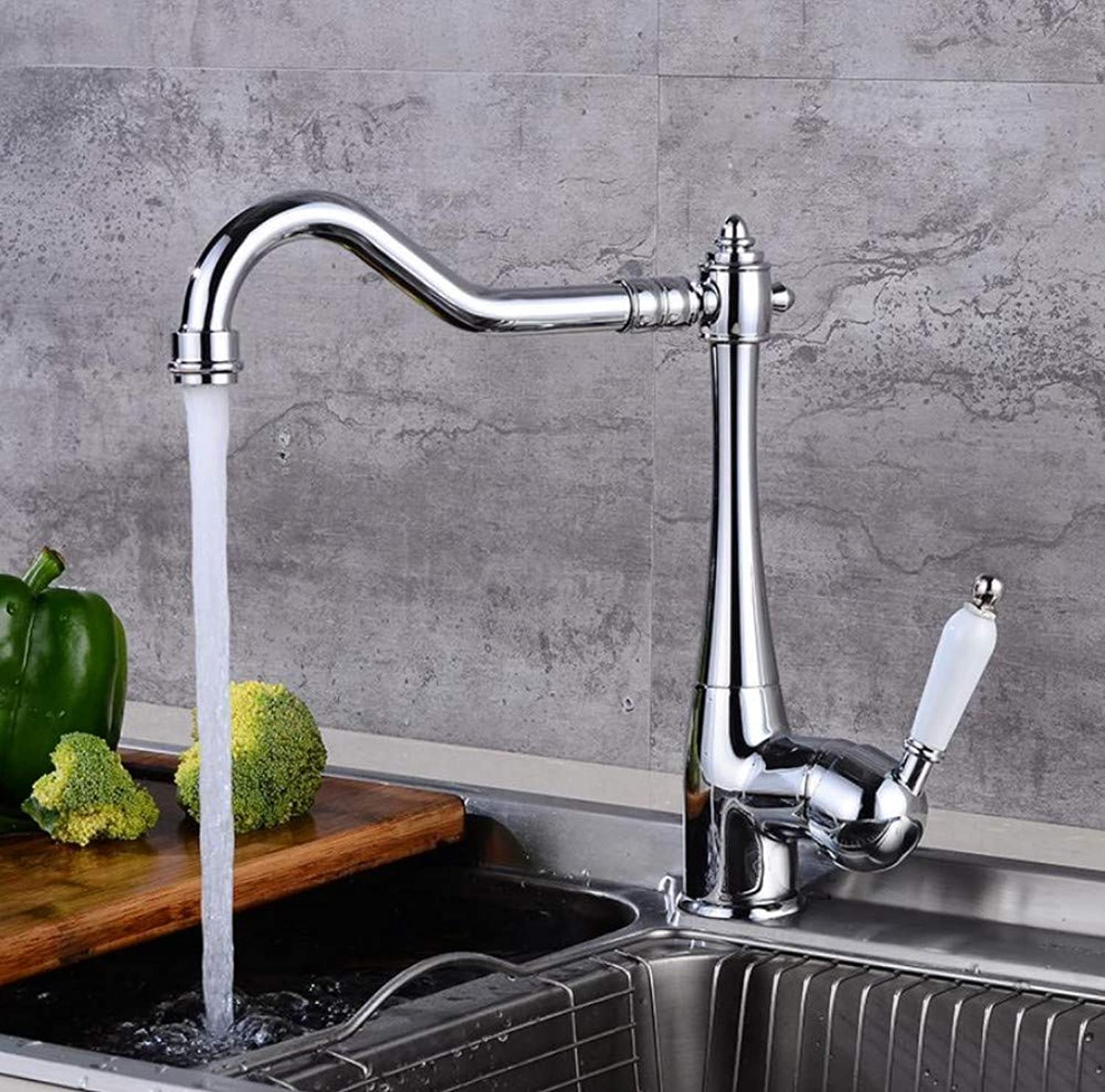Modern Swivel Spout Fittings Waterfall Faucetkitchen and Bathroom Spring Faucet Silver Wash Dish Basin Mixed Faucet Lifting Kitchen and Bathroom Cold and Hot Water Faucet