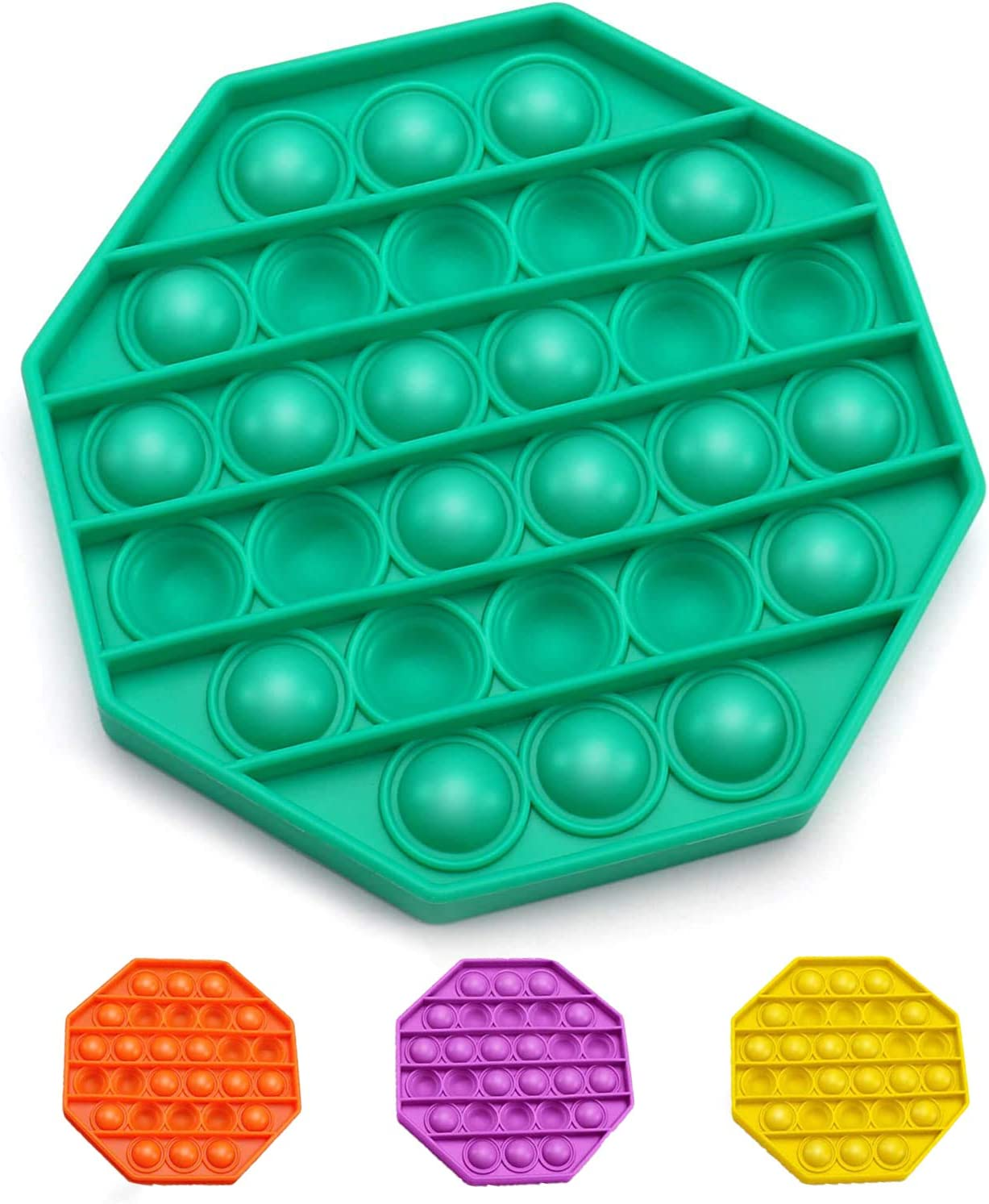 Octagon,Green Push pop pop Bubble Sensory Fidget Toys,Autism Special Needs Stress Reliever Silicone Stress Reliever Toy,Squeeze Sensory Toy for Homeschool /& Office,Good for Kids or Adults