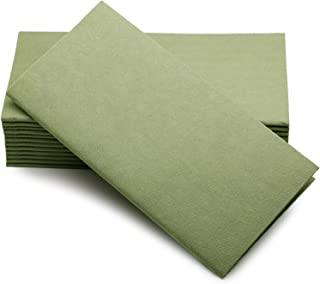 """SIMULINEN Colored Napkins – Decorative Cloth Like & Disposable Dinner Napkins – Soft, Absorbent & Durable – 16""""x16"""" – Box of 50 (Olive Green)"""
