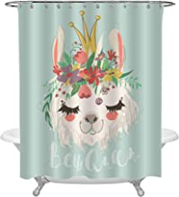 Cute Sketch Llama Queen with Flowers Wreath and Beautiful Crown Shower Curtain, Hand Drawn South American Animal Alpaca with Floer Bouquet Bathroom Decor for Kids Girl, Waterproof Cloth Fabric 72 x 72