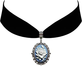 Victorian Vault Rose on Blue Cameo Gothic Steampunk Victorian Pendant on Choker