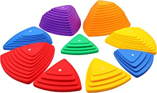 Houseables Balance Stepping Stones, Set of 9, Plastic, Multicolor, Riverstones, Jumping Pads, Obstacle Blocks, Sensory Toys for Kids, Toddlers, Children, Coordination, Indoor, Outdoor, with Grips