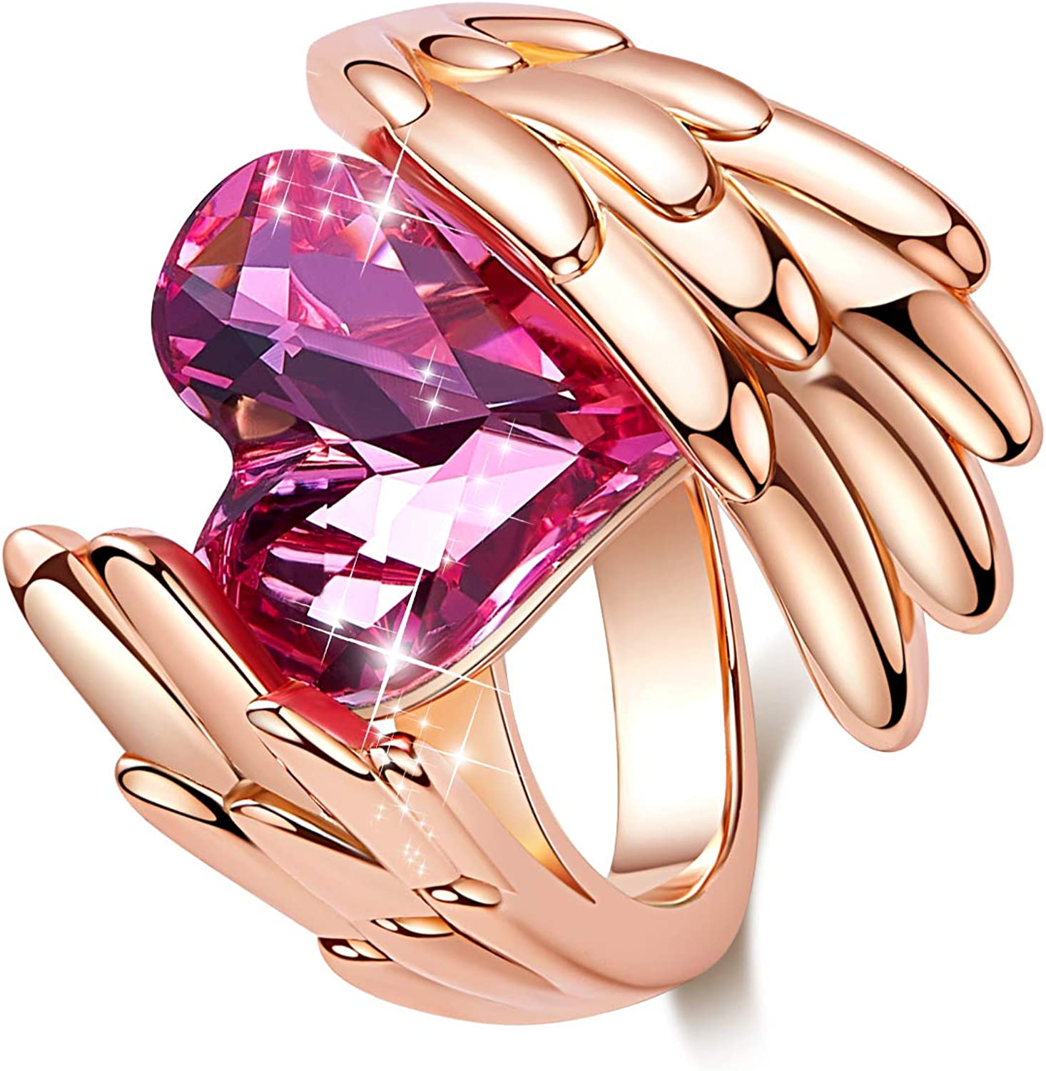 CDE Woman Elegant Rings Heart Popular brand Embellished Max 48% OFF Rose Shape Plated Gold