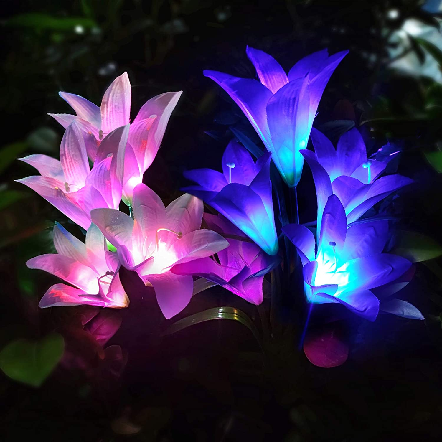 SEAL limited product Solar Lights Outdoor - 2 Max 45% OFF Pack Lily with Garden Fl 8