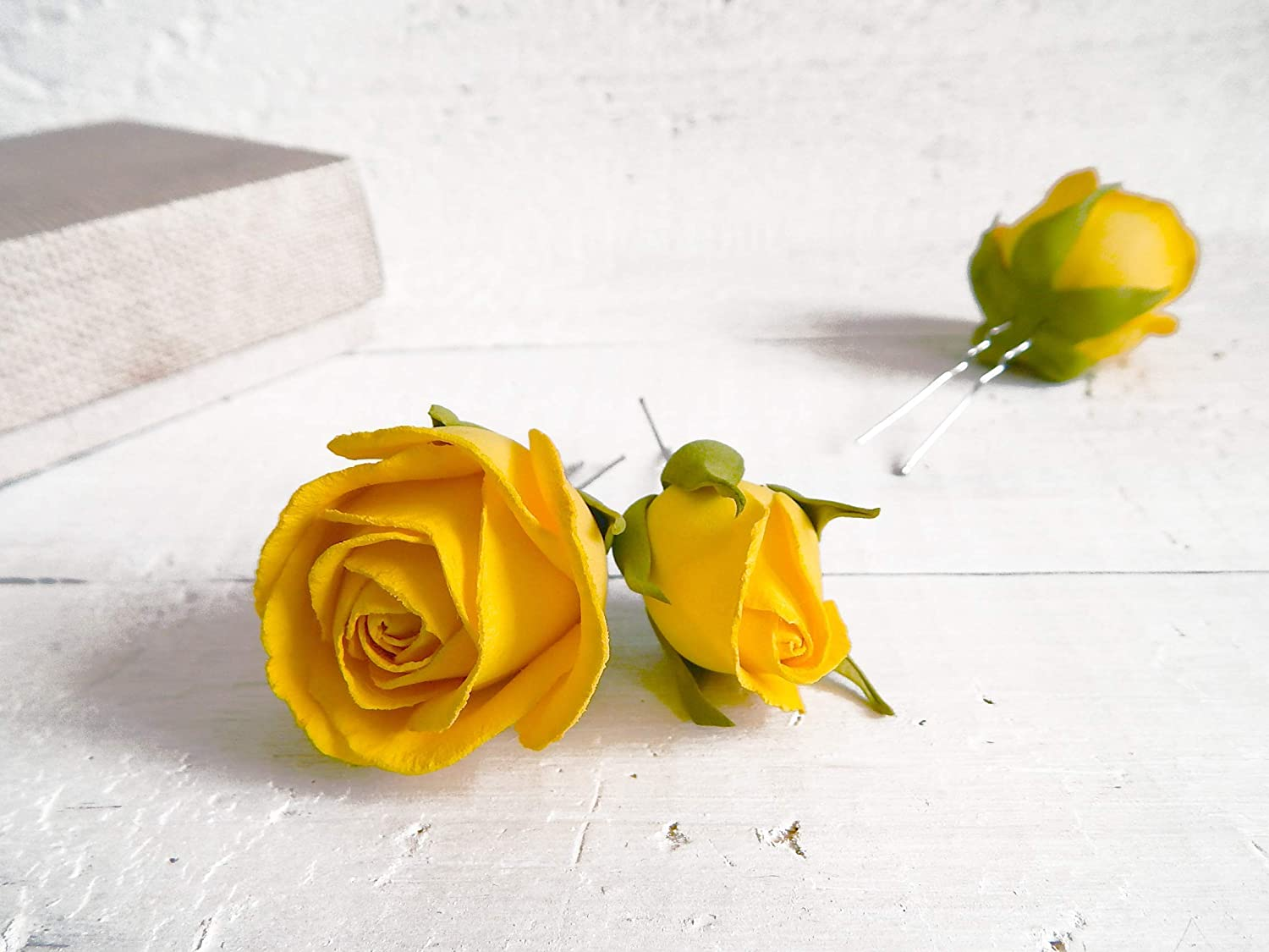 Wedding Floral Sales Hairpins with Yellow Rose Set of 3 Flowers Albuquerque Mall Bridal
