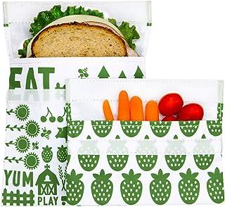 Lunchskins - Juego de 2 bolsas de velcro reutilizables, Paquete de 2, verde, (Green Farm), Verde, 1