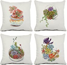 ULOVE LOVE YOURSELF 4Pack Succulent Throw Pillow Covers Cotton Linen Square Pillowcases with Hand-Painted Potted Plants Gardening Theme 18 X 18 Inch Decorative Cushion Cover(Succulent-1)
