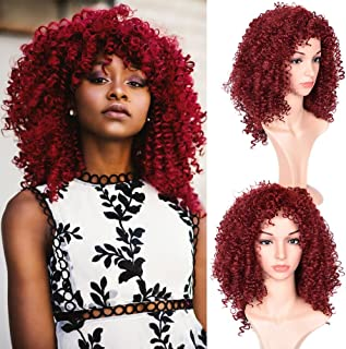 Good Quality Afro Curly Hair Wig For Black Women Short Curly Hair Wigs Burgundy Color Heat Resistant Kinky Curly with Free Wig Cap(03M17-Burgundy Color)