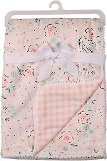 Laura Ashley Girls Printed Mink Blanket with Pom Pom Edge, Pink
