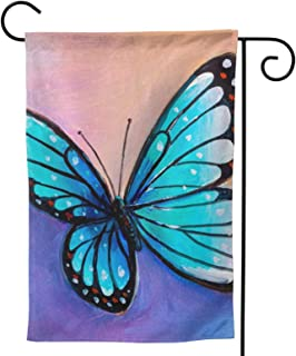 Blue Butterfly Garden Flag Insect House Flag Vertical Double Sided Yard Outdoor Decor Party 12.5 X 18 Inch