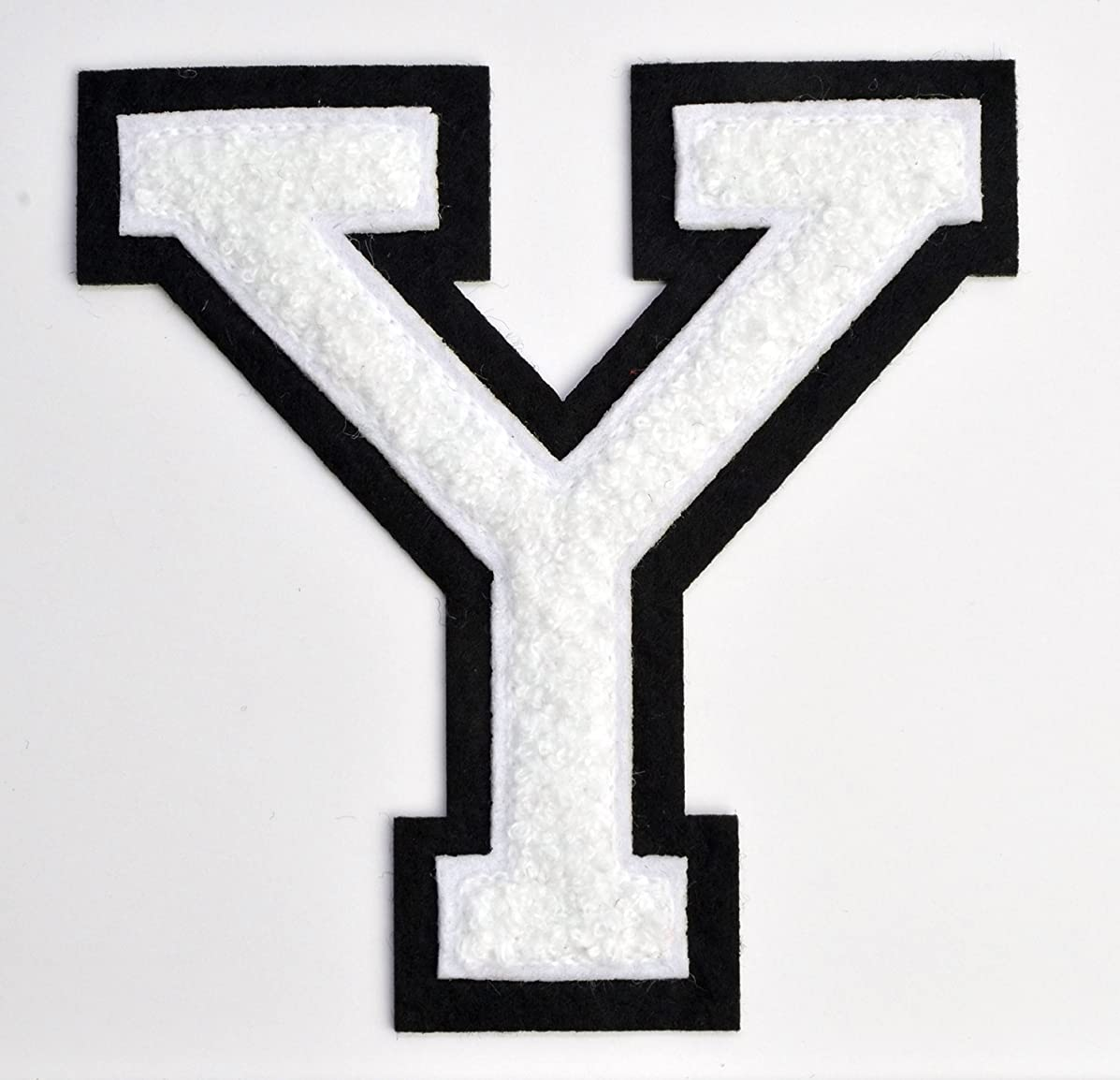Varsity Letter Patches - White Embroidered Chenille Letterman Patch - 4 1/2 inch Iron-On Letter Initials (White, Letter Y Patch)