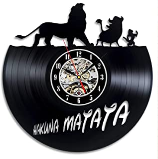 Wood Crafty Shop Hakuna Matata The Lion King Disney Vinyl Record Wall Clock Gift for Him and Her Unique Wall Decor The Best Gift Idea for Any Event Birthday Gift, Wedding Gift