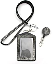 ALL in ONE Rhinestone Lanyard Bling Crystal Necklace + Badge Reel + Card Holder for Business Id/key (SILVER)