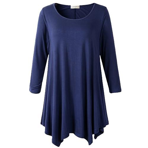 5865127194822 LARACE Women Plus Size 3 4 Sleeve Tunic Tops Loose Basic Shirt