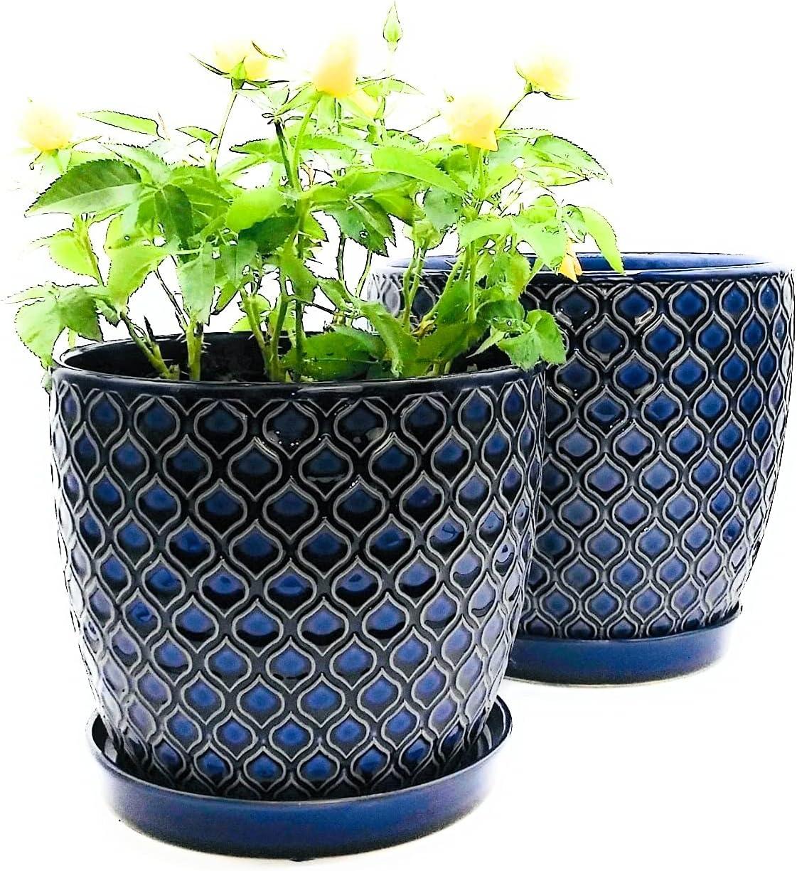 sale Blue Ceramic Planter Pot Set - w 7.5