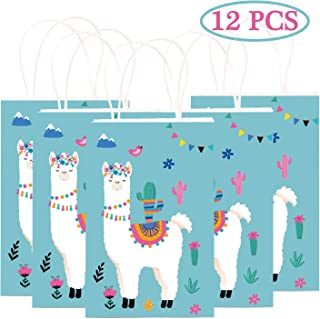 Happy Storm Llama Party Favor Bags Fiesta Cactus Cinco de Mayo Party Supplies Mexico Gift Goodie Treat Bag for Kids Llama Themed Birthday Baby Shower Party (12 PCS)