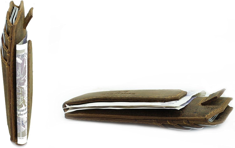 StarHide RFID Blocking Ultra Slim Leather Money Clip Credit Card Holder Wallet Case With Strong Magnet 725 Brown