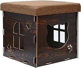 eyepower Cama para Gato 38x38x38cm pequeño S caja cuadrada para mascota con tapa acolchada para sentarse reposapiés incl alfombra rascadora Marrón