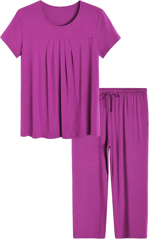 Latuza Women's Pleated Loungewear Top and Capris Pajamas Set