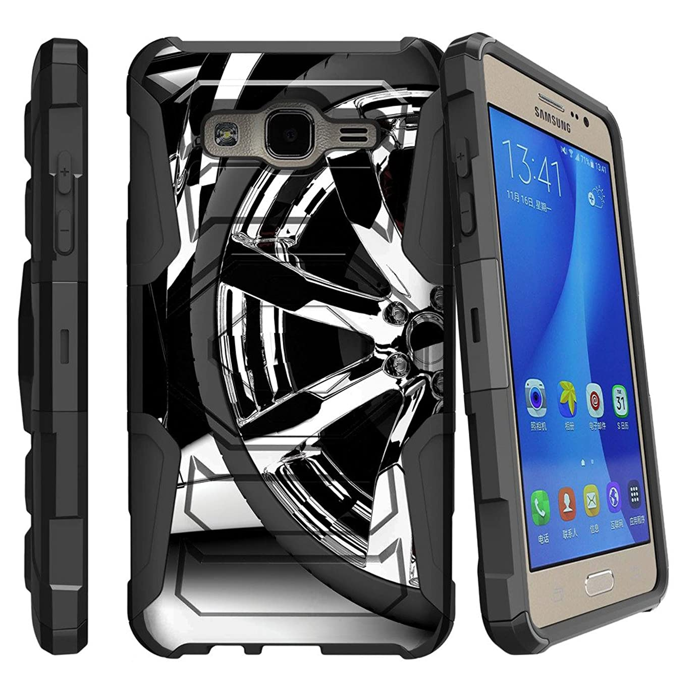 MINITURTLE Case Compatible w/Galaxy On5 Case, Samsung O5 Clip Case, G550 Cover [Armor Reloaded] Shock Rugged Clip Case w/Hard Stand Silver Rim