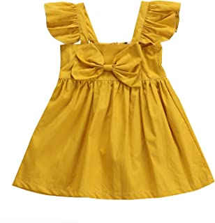 Emmababy Baby Girls' Ruffle Sleeve Sundress Casual Bowknot Skirt Clothes