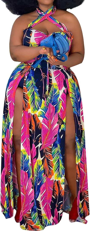 Women Plus Size Maxi Dress - Sexy Halter Neck Criss Cross Floral Print Split Summer Beach Tropical Wedding Guest Dresses