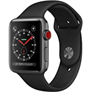 Apple Watch Series 3 (GPS + Cellular), 42mm Space Gray Aluminum Case with Black Sport Band - Grey...
