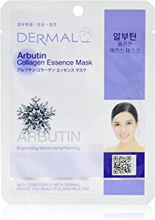 DERMAL Arbutin Collagen Essence Facial Mask Sheet 23g Pack of 10 - Anti Aging for Troubled Skin, Daily Skin Treatment Solu...
