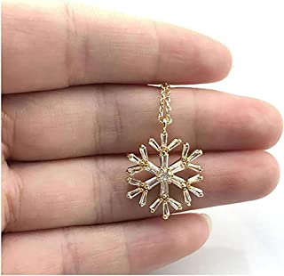 Gold Dainty CZ Snowflake Pendant Necklace,Cubic Zirconia Setting 18K Gold Plated Minimalist Jewelry for Women