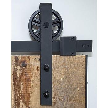 Hengda 6,6FT Quincaillerie Kit de Rail pour Syst/ème de porte coulissante 200cm Hardware Porte Coulissante Ensemble Industriel pour Porte Suspendue en Bois