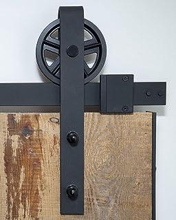 comprar comparacion Sistema de puerta corredera, rueda de radios de 200 cm, juego completo con ruedas y carril, sistema de puerta corredera de...