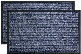 3AB 2-Pack Doormat Outdoor, 30 x 17 inch Gray Floor Mats, Non Slip Easy Clean Outdoor Indoor Shoe Scraper Rug, Door Mats f...