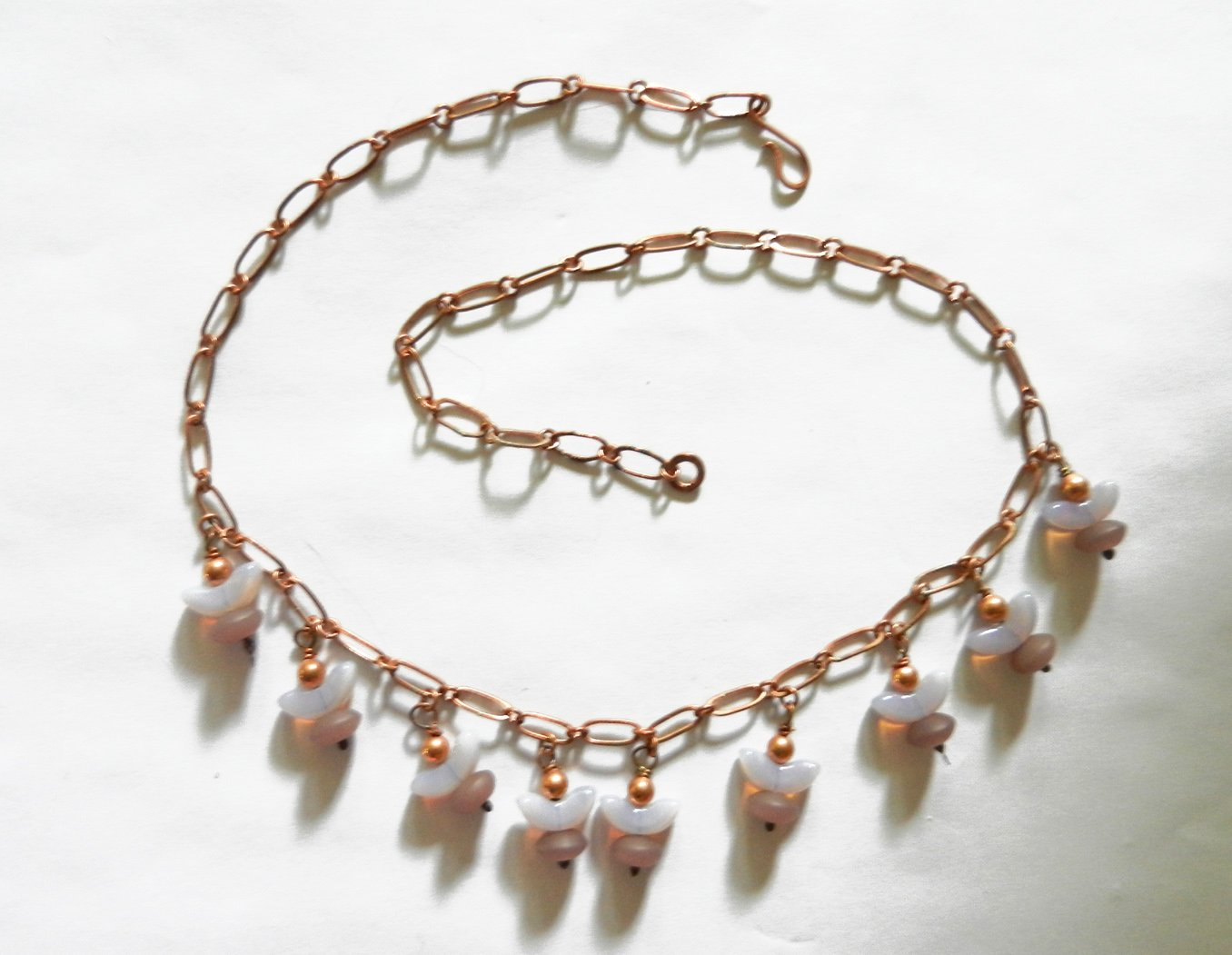 Purple glass Japan's largest assortment beaded NEW before selling necklace. copper fringe